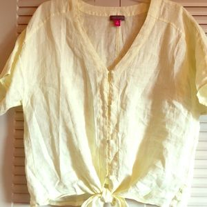 Vince Camuto  Day Break Yellow Linen Shirt